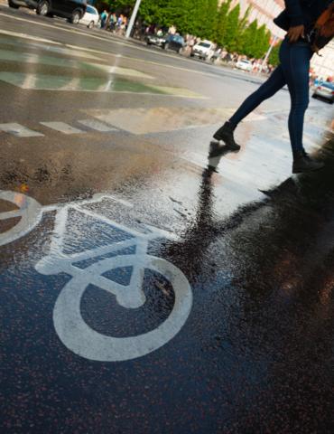 Cyclists versus pedestrians